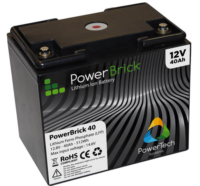 lithium ion battery 12v 40ah powerbrick mylithiumbattery. Black Bedroom Furniture Sets. Home Design Ideas