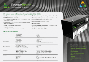 12V 7.5 Ah PowerBrick STANDARD Specification