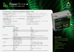 12V 20Ah PowerBrick PRO+ Specifications