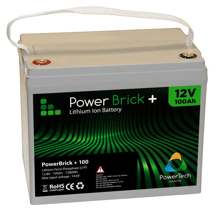 Lithium Ion battery 12V 100Ah - LiFePO4 - PowerBrick®